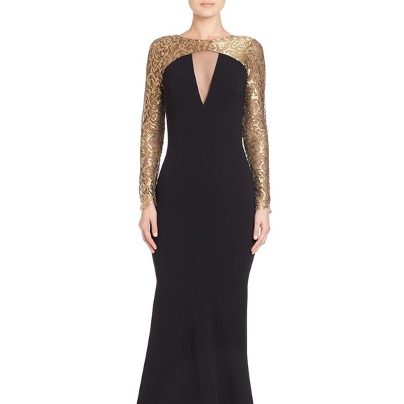 Theia Dresses Gold And Black Long Sleeve Mermaid Gown Poshmark